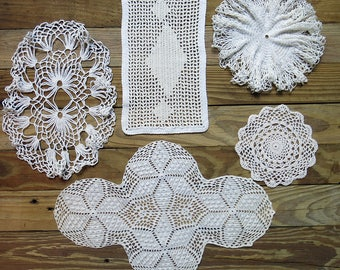 Antique & Vintage Crochet Doily Lot...Mixed, Handmade Lace Doilies, early to mid 1900s...Destash Collection, Crafting, Home Decor DL1701