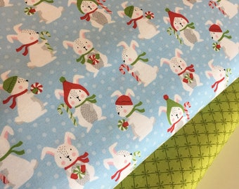 Christmas fabric, Rabbit fabric, nursery Decor, novelty fabric, Fabric Bundle of 2, Choose The Cuts