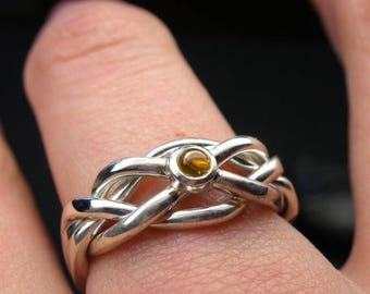 MATERNITY LEAVE SALE Citrine puzzle ring in sterling silver - Narrow style - Size 7
