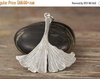 MATERNITY LEAVE SALE Ginkgo Biloba leaf pendant in Sterling silver