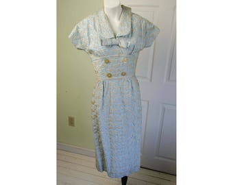 Vintage 1950's Embroidered Baby Blue Satin Wiggle Dress
