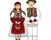 Custom Listing - Croatian Folklore Dancers - Custom Brown Hair Brother and Sister