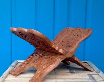 SALE-FREE SHIPPING-Vintage Hand Carved Flower & Leaf Design Wood Folding Book Display Stand-Bible Stand-Cookbook Stand-Boho-Hippie-Farmhouse