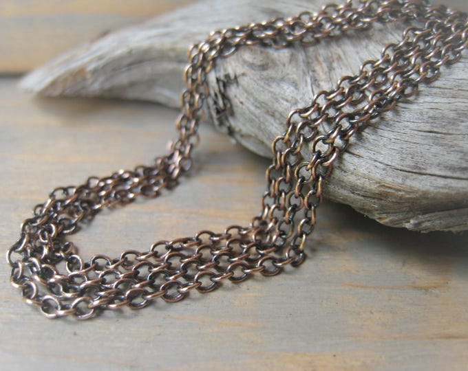 Featured listing image: Copper Chain Necklace Oxidized Copper Chain Oval Cable Chain Item No. J6810