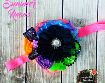 RTS Summer Neons Glamour Bloom Hair Flower clip headband county fail