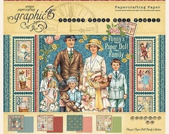 NOW ON SALE Preorder Graphic 45 Penny's Paper Doll Family 12x12 Paper Pad