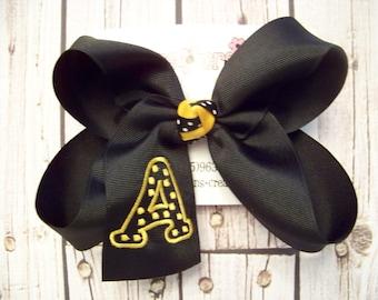 LARGE Polka Dot Font Single Initial Monogram School Uniform Boutique Hair Bow Choose Color Karens Creations