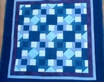 "New hand pieced, hand quilted wall or crib quilt, blues, purples, 41"" x 41"""