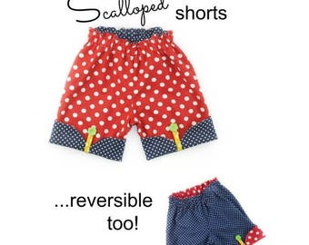 SALE Girls Shorts Sewing Pattern Whimsy Couture Scalloped Shorts 12m through 16 girls PDF Instant