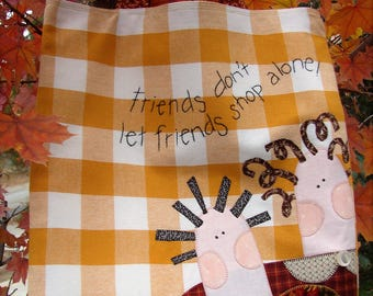 Best Friends Gift | Friendship Gift | Purse Bag Tote Travel | Shopping Bag | Gold White Check | Appliques | Vintage | Quilter | Girlfriend