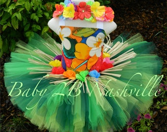 Deluxe Hula Costume Hawaiian Costume Baby Costume Baby HawaiianTutu Set  Toddler Hawaiian Tutu All Sizes Baby - 8