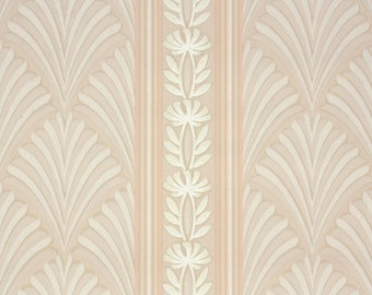 1940s Vintage Wallpaper by the Yard - Botanical Striped Wallpaper with Pink Fern Leaves and Stripes