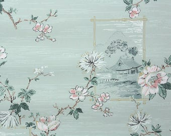 1950s Vintage Wallpaper by the Yard - Floral Wallpaper Pink Flowers Scenic with Cherry Blossoms and Japanese Motifs
