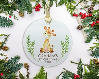 Baby's First Christmas Ornament, Personalized Ornament, Giraffe Ornament, Watercolor Ornament, Baby's 1st Christmas 2018 Ornament Gift