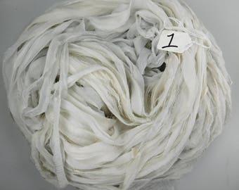 Chiffon Sari Ribbon, Silk sari ribbon, Silver gray sari ribbon, weaving supply, tassel supply, spinning supply
