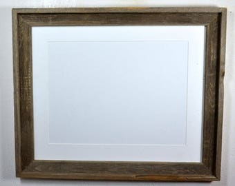Picture frame reclaimed wood 12x16 white mat 16x20 without mat multiple mat colors and mat openings to choose from