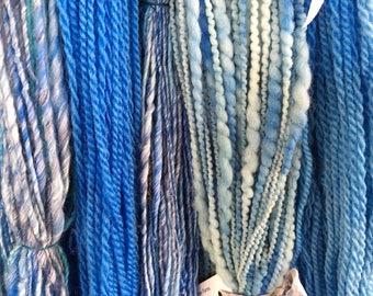 Handspun yarn, blue skys, amazing flock bundle, its all anout the fiber, weaving yarn, knitting 1lb