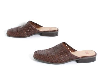 size 8.5 WOVEN brown leather 80s 90s CLOG slip on mules
