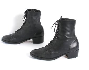 size 7.5 VICTORIAN black leather GRUNGE 80s 90s WESTERN lace up ankle boots