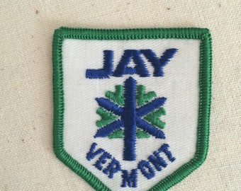 Vintage Travel Patch Badge Applique Jay ,Orleans County, Vermont, United States,  Canada–US border USA