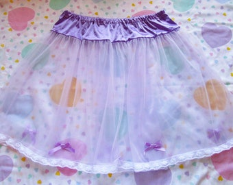 Sheer skirt, lavender pastel slip retro lingerie fairy kei drag queen size L XL Extra Large bridal gift