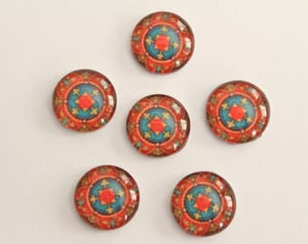 Glass Cabochons - Red Blue Mandala Design . 12mm (6)
