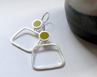 Yellow Hoop Earrings  - Sulphur Yellow Earrings - Modern Square Hoops  - Minimalist Hoops - Gift for Mum - Pop Square Hoops