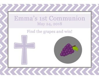 24 Personalized First Communion Scratch Off Game Cards   - Lavendar