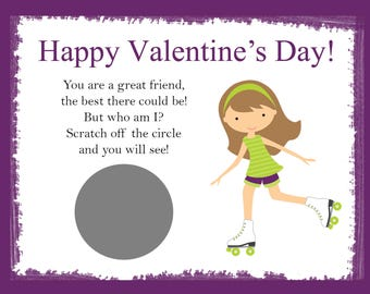 Personalized Scratch Off Valentine's Day Cards for Kids - Roller Skate Purple