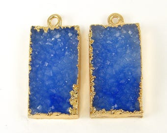 Blue Faux Druzy Earring Findings Blue Gold Drusy Pendant Drusy Earring Charm Rectangle Blue Gold Trimmed Earring Findings |B11-10|2