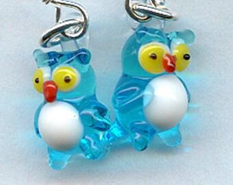 Teal Glass Owls Sterling Silver Earrings