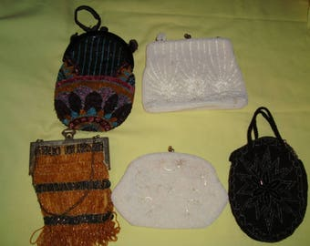 Antique Beaded Bag Lot of 5