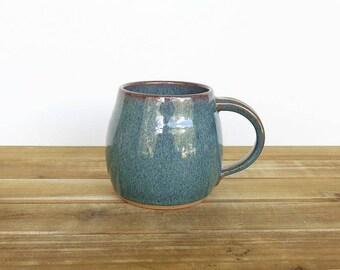 Coffee Mug, Ceramic Stoneware in Sea Mist Glaze - Single Pottery Mug, Rustic Kitchen, Teal Mug