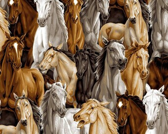 Horses Multi Allover -  David Textiles- Horse Fabric- Cotton Fabric- Choose your cut- Galloping Horses- Cowboy Fabric-Quilting- Apparel