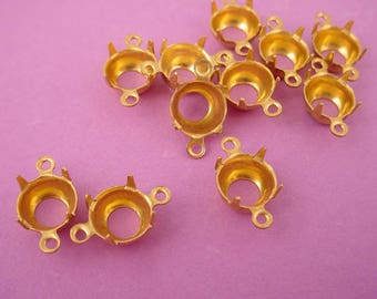24 Brass Round Prong Settings 39SS 8mm Connectors 2 Ring open  Back