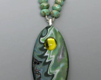 HALF OFF SALE Mokume Gane Pendant, Polymer Clay and Vintage Cabochon and Czech Beads, Shades of Green, Unique Jewelry