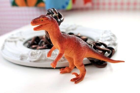 Kawaii orange dinosaur statement necklace big chunky chain