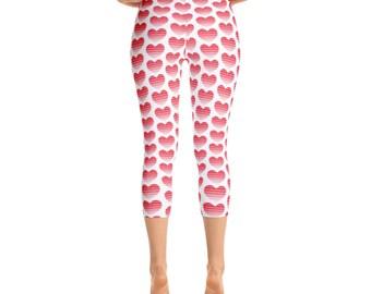 Valentines Leggings, Valentines Leggings Women, Capri Leggings, Valentines Clothing, Heart Leggings Women, Capri Leggings for Women