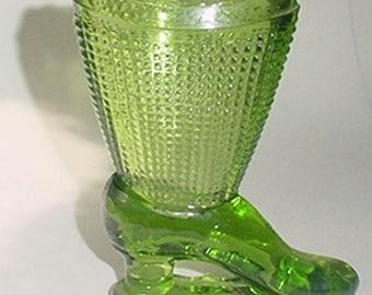 Green Glass High Heel Shoe - On Pedestal - Nice One