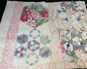 Vintage Hand Quilted Well Loved Seven Sisters Cutter Quilt Piece