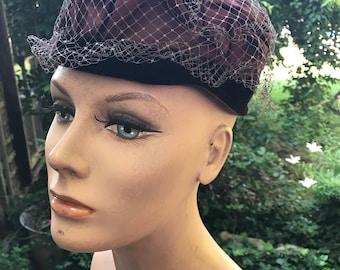 Vintage Brown Velvet, Satin and Netting Ladies' Hat