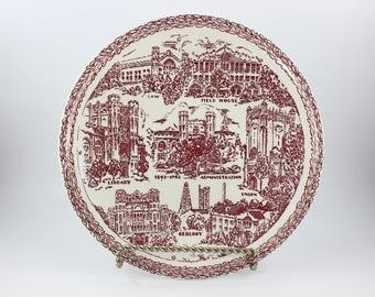 Vintage Vernon Kilns Red Transferware Soonerland Souvenir Plate