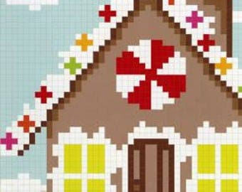 SALE The GINGERBREAD HOuSE quilt PATTERN by Carolina Patchworks, pixelated