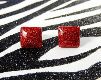 Ruby Red Square Earrings, Red Stud Earrings, Resin Studs, Glitter Posts