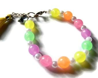 Rainbow Glow Bracelet, Glowing Orb Tassel Bracelet, Fairy Kei Multicolored
