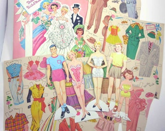 Vintage 1950s Bridal Party Paper Dolls by Whitman