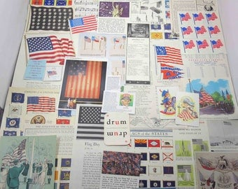 Vintage Patriotic Flags Fourth of July Americana Uncle Sam and Fireworks Ephemera Pack Lot B