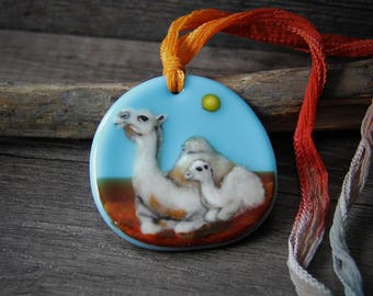 RESERVED for Janis  payment 2/4 Camel mom and baby in the desert - fused glass pendant - boho  sunny necklace -