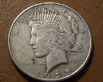 1925 Peace Silver Dollar, Coin, Numerology, Melt, Jewelers Silver coin Lot #27