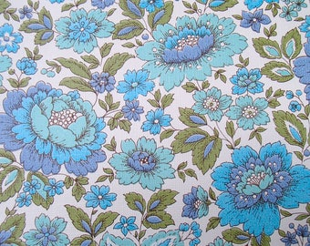 full roll vintage wallpaper, original European, 'blue flowers' / Tapete / behang